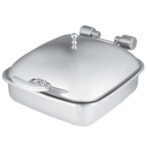 Vollrath 46132 6 Qt. Intrigue Square Induction Chafer with Stainless Steel Food Pan Main Image 1