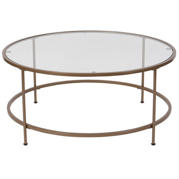 """Flash Furniture NAN-JN-21750CT-GG Astoria 35 1/4"""" x 15 1/4"""" Round Clear Glass Coffee Table with Matte Gold Metal Legs Main Image 1"""