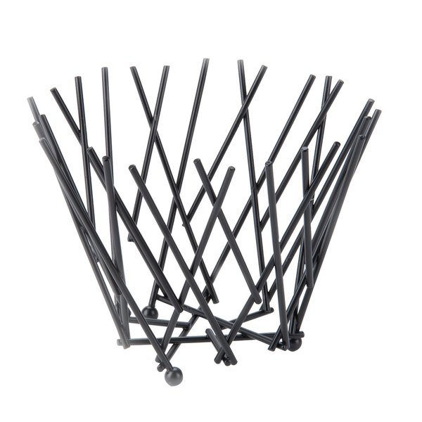 "American Metalcraft FRUB6 Round Black Thatch Basket - 7"" x 5"""