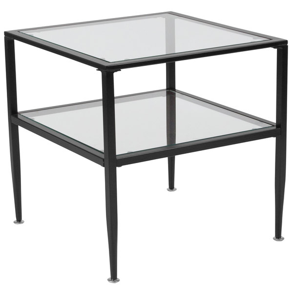 "Flash Furniture HG-160913-GG Newport 19 3/4"" x 19 3/4"" x 19 3/4"" Glass End Table with Black Metal Frame"
