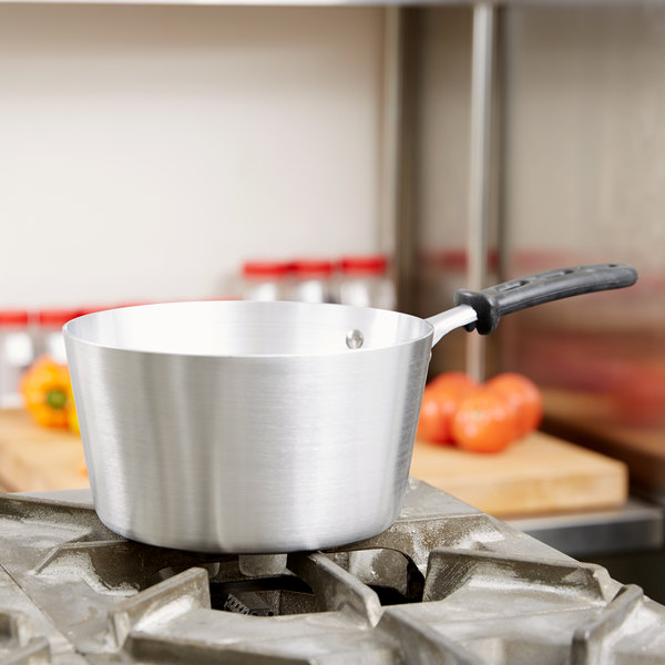 Vollrath 68302 Wear-Ever 2.75 Qt. Tapered Sauce Pan with Natural Finish and TriVent Silicone Handle