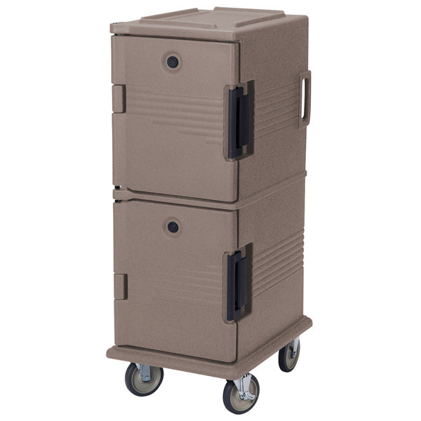 Cambro UPC800SP194 Ultra Camcarts® Granite Sand Insulated Food Pan Carrier with Heavy-Duty Casters and Security Package - Holds 12 Pans Main Image 1