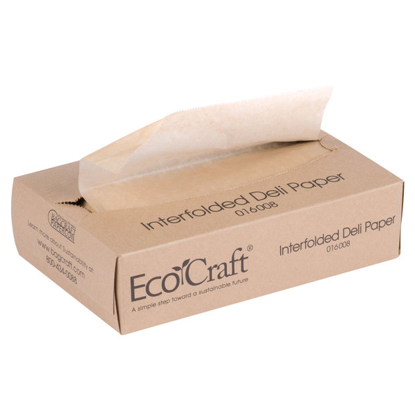 Bagcraft Papercon 016008 8 inch x 10 3/4 inch EcoCraft Interfolded Deli Wrap