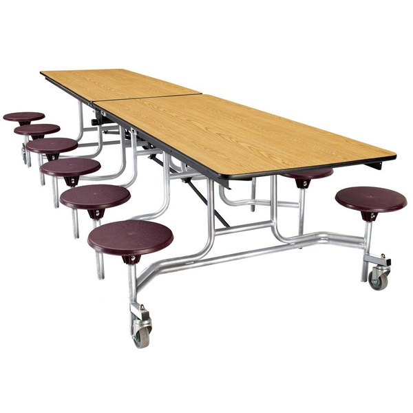 National Public Seating MTS8 8 Foot Mobile Cafeteria Table with Plywood Core and 8 Stools Main Image 1