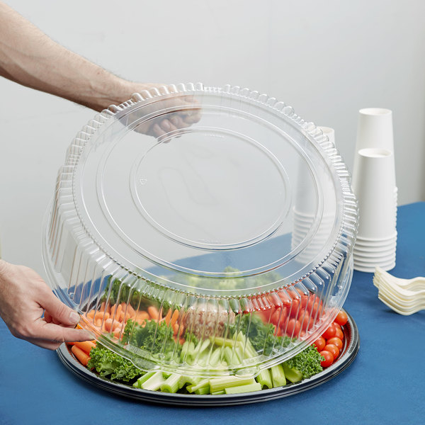 """WNA Comet A18PETDMHI CaterLine Casuals 18"""" Clear PET Plastic Round High Dome Lid - 25/Case Main Image 6"""