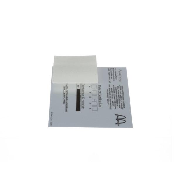 Garland / US Range 4518261 Label Cert.Row
