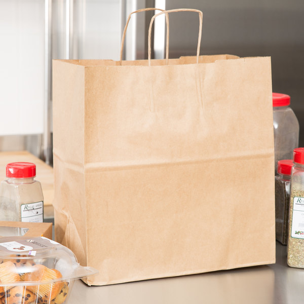 "Duro Royal Natural Kraft Paper Shopping Bag with Handles 14"" x 8"" x 14 3/4"" - 200/Bundle"