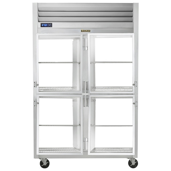 Traulsen G21007P 2 Section Glass Half Door Pass-Through Refrigerator - Right / Right Hinged Doors Main Image 1