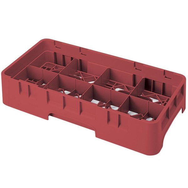 "Cambro 8HS318416 Cranberry Camrack Customizable 8 Compartment 3 5/8"" Half Size Glass Rack"