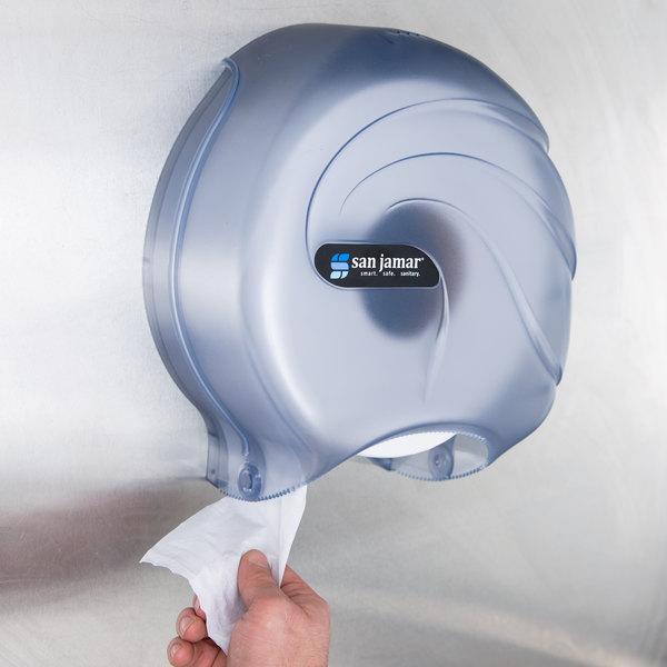 """San Jamar R2090TBL Oceans 9"""" Single Roll Jumbo Toilet Tissue Dispenser - Arctic Blue"""