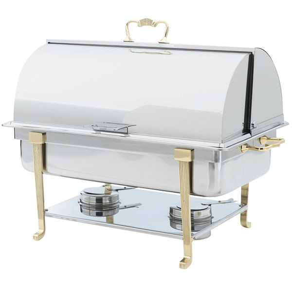 Vollrath 46051 9 Qt. Classic Brass Trim Roll top Chafer Full Size Main Image 1