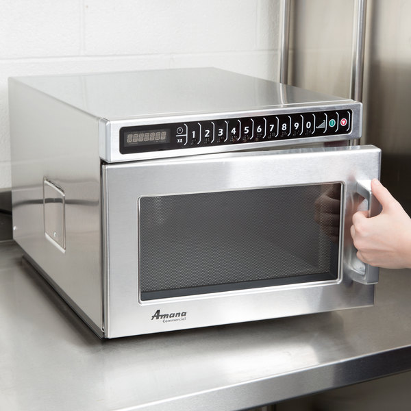 Amana HDC182 Heavy Duty Stainless Steel Commercial Microwave with Push Button Controls - 208/240V 1800W & Amana HDC182 Heavy Duty Stainless Steel Commercial Microwave with ...