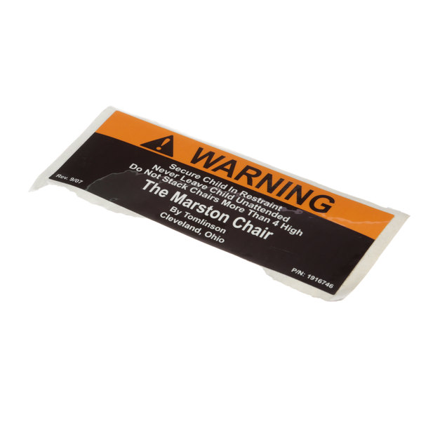 Tomlinson 1923580 Label, Warning High Chair Bck