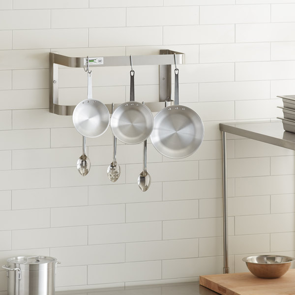 "Regency 24"" Stainless Steel Wall Mounted Double Line Pot Rack with 18 Galvanized Double Prong Hooks"