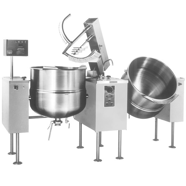Cleveland TMKDL-80-T 80 Gallon Tilting 2/3 Steam Jacketed Direct Steam Twin Mixer Kettle Main Image 1