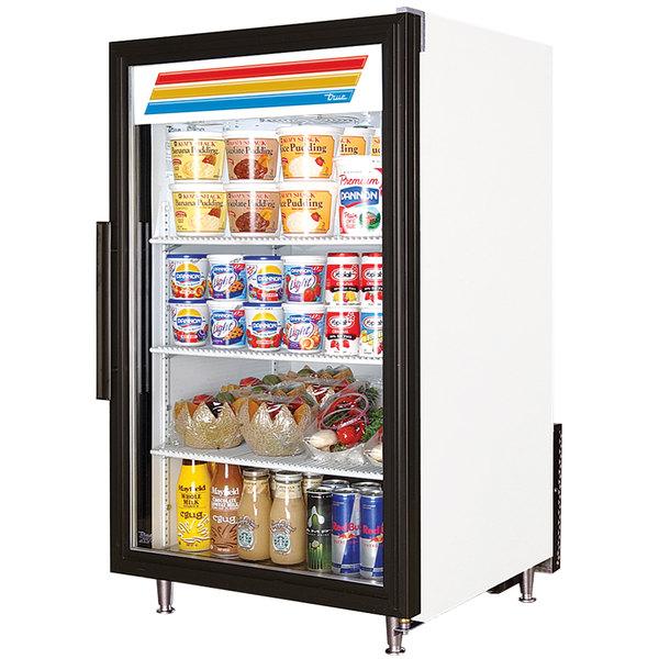 True GDM-7-LD White Countertop Display Refrigerator with Swing Door