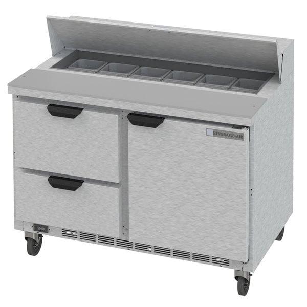 "Beverage-Air SPED48HC-12-2 48"" 1 Door 2 Drawer Refrigerated Sandwich Prep Table"