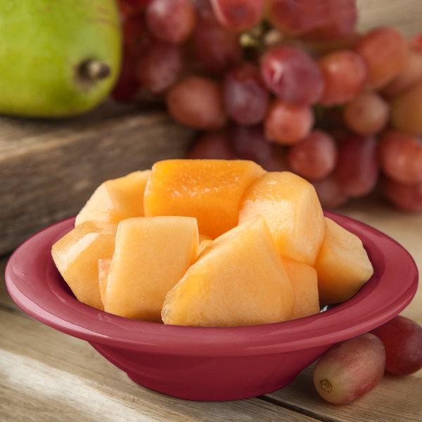 Carlisle 4304258 Durus 4 1/2 oz. Roma Red Rimmed Melamine Fruit / Monkey Dish - 48/Case