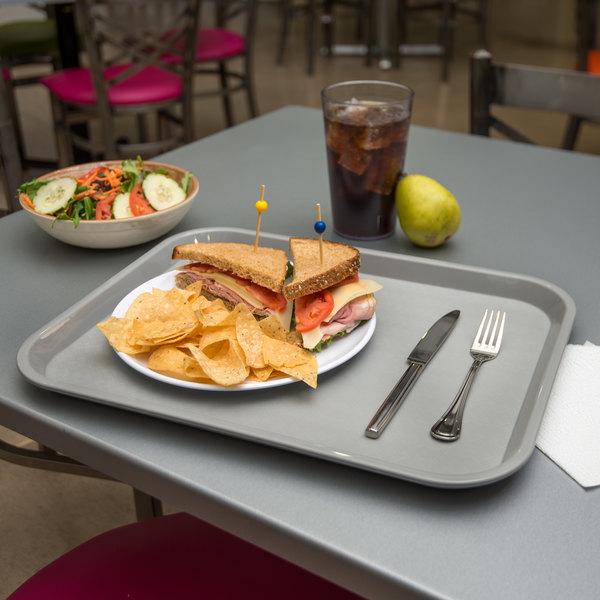 "Carlisle CT141823 Customizable Cafe 14"" x 18"" Gray Standard Plastic Fast Food Tray - 12/Case"