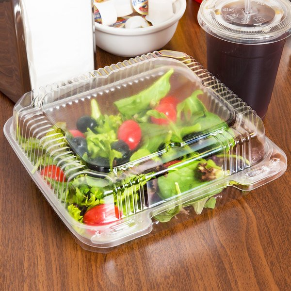 "Durable Packaging PXT-895 Tall 8"" x 8"" x 3 1/2"" One-Compartment Clear Hinged Plastic Take Out Container - 125/Pack Main Image 4"