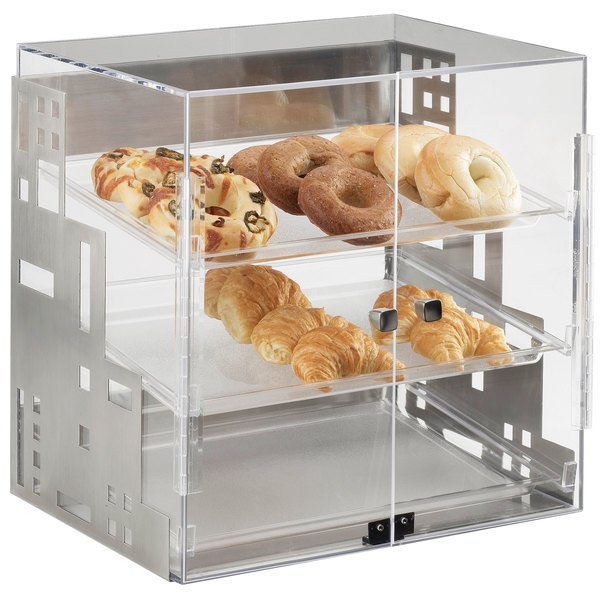"""Cal-Mil 1621-55 Squared Three Tier Stainless Steel Display Case with Front Doors - 15"""" x 13"""" x 19"""" Main Image 1"""