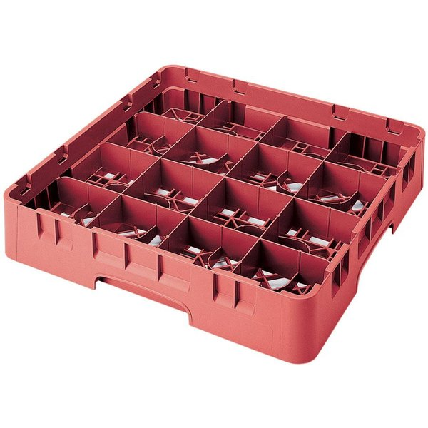 "Cambro 16S800163 Camrack 8 1/2"" High Customizable Red 16 Compartment Glass Rack"