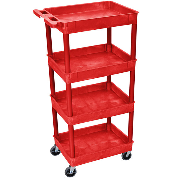 "Luxor RDSTC1111RD Red 4 Tub Utility Cart - 18"" x 24"" x 46 3/4"""