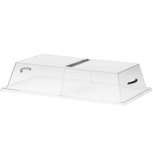 "Cal-Mil 328-12 Clear Standard Rectangular Bakery Tray Cover with Center Hinge - 12"" x 20"" x 4"""