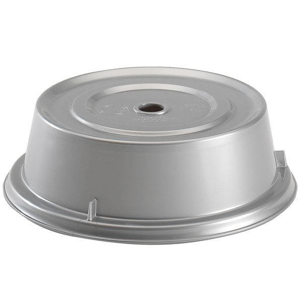 """Cambro 9013CW486 Camwear Silver Metallic Camcover 10"""" Plate Cover - 12/Case"""