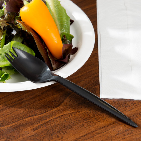 Choice Medium Weight Black Plastic Spork - 100/Pack