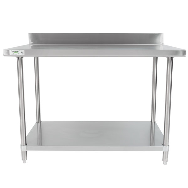 featuring a backsplash and all stainless steel construction this work table is a great addition to your restaurant cafe or bakery