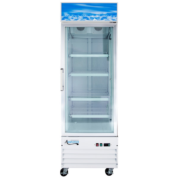 "Avantco GDC12F 27"" White Swing Glass Door Merchandising Freezer with LED Lighting"