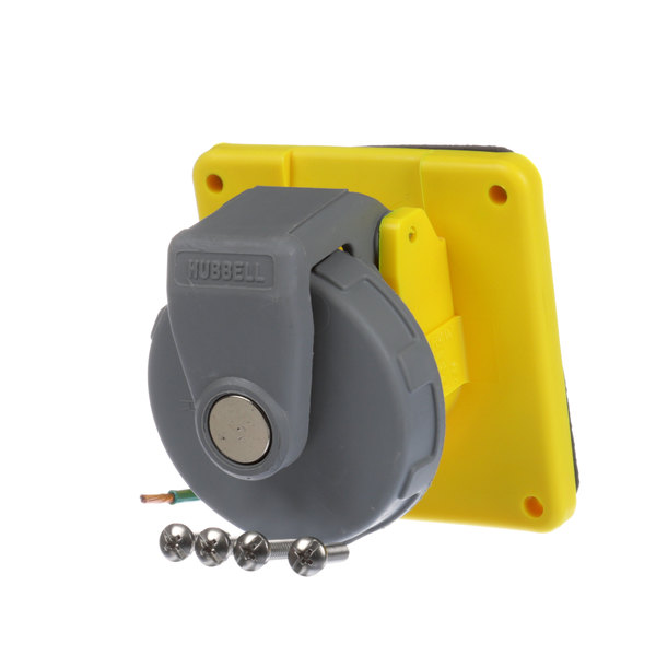 Hubbell HBL320R4W Small Yellow 20a Receptacle Main Image 1