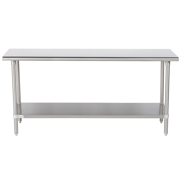 """Advance Tabco Premium Series SS-246 24"""" x 72"""" 14 Gauge Stainless Steel Commercial Work Table with Undershelf"""