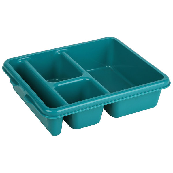 """Cambro 9114CP414 9"""" x 11"""" Teal 4-Compartment Meal Delivery Tray - 24/Case Main Image 1"""