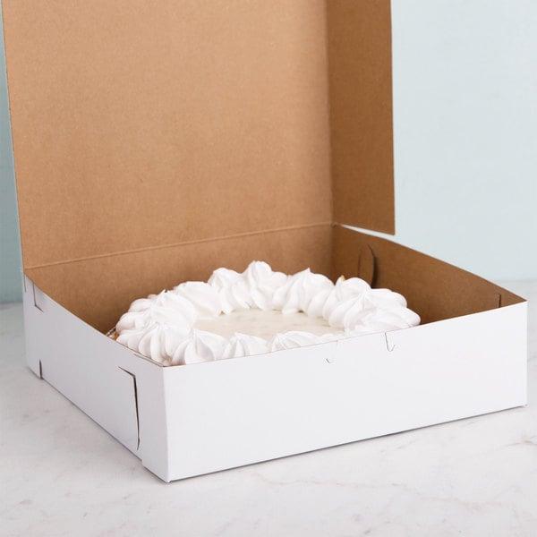 """Southern Champion 953 9"""" x 9"""" x 2 1/2"""" White Cake / Bakery Box - 250/Bundle"""