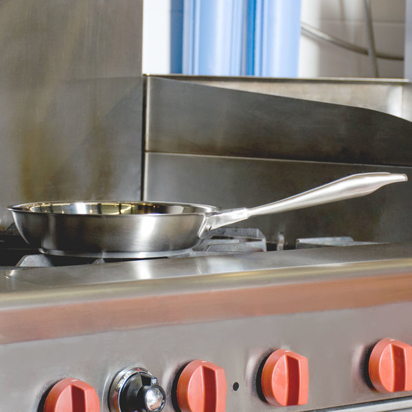 """Vollrath 47751 Intrigue 9 3/8"""" Stainless Steel Fry Pan with Aluminum-Clad Bottom Main Image 2"""