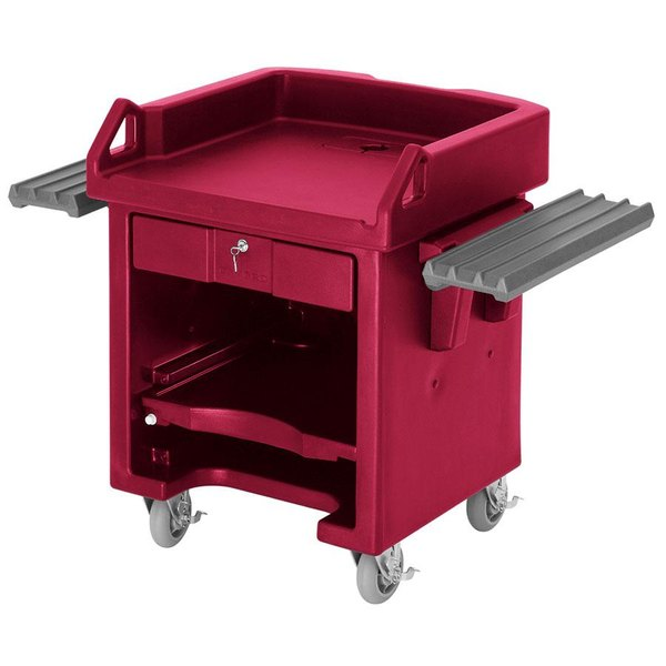 Cambro VCSWRHD158 Hot Red Versa Cart with Dual Tray Rails and Heavy Duty Casters Main Image 1