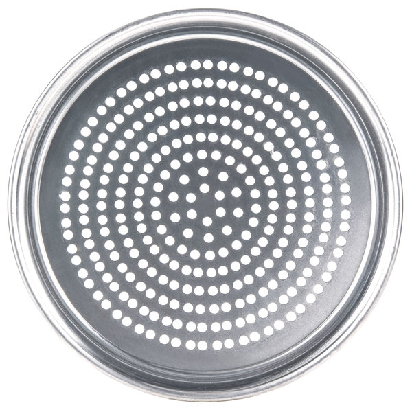 "American Metalcraft SPHATP7 7"" Super Perforated Heavy Weight Aluminum Wide Rim Pizza Pan"