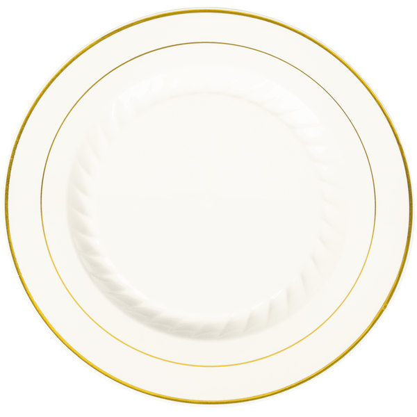 Fineline Silver Splendor 510-BO 10 inch Bone / Ivory Plastic Plate with Gold Bands - 120/Case
