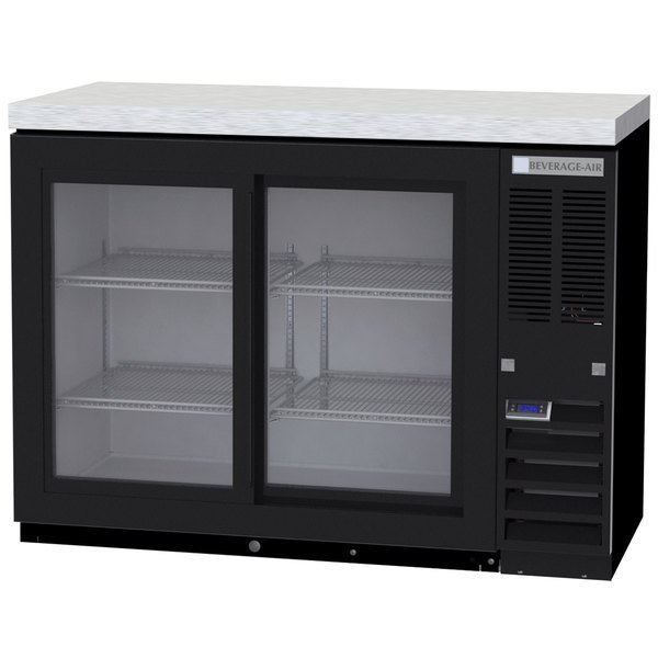 """Beverage-Air BB48HC-1-GS-B-27 48"""" Black Back Bar Refrigerator with Sliding Glass Doors and Stainless Steel Top - 115V"""