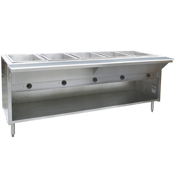 Eagle Group HT5OB Natural Gas Steam Table with Enclosed Base 17,500 BTU - Five Pan - Open Well