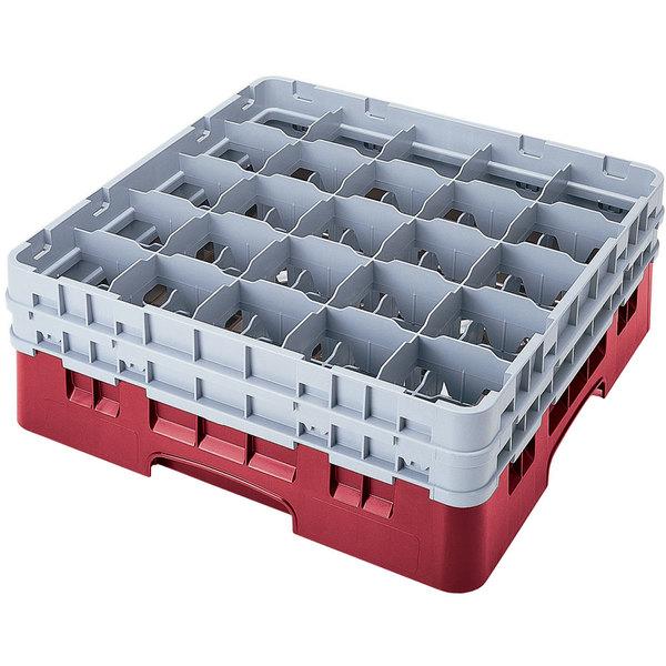 "Cambro 25S318416 Camrack 3 5/8"" High Customizable Cranberry 25 Compartment Glass Rack Main Image 1"