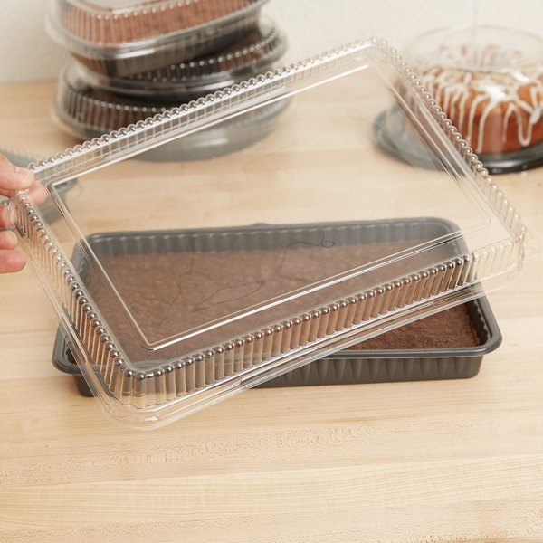 Genpak 95514 Bake 'N Show Clear Dome Lid for 55514 Dual Ovenable Quarter Sheet Cake / Baking Pan - 100/Case Main Image 7