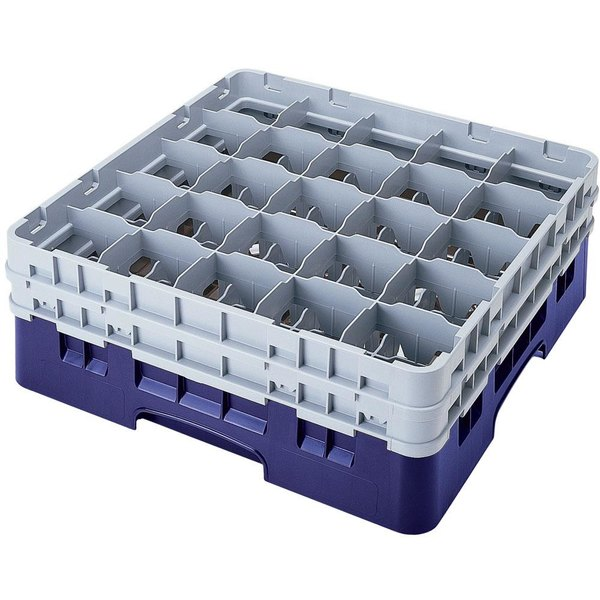 "Cambro 25S318186 Camrack 3 5/8"" High Customizable Navy Blue 25 Compartment Glass Rack"