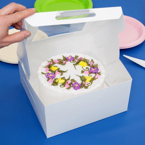"10"" x 10"" x 5"" White Window Cake / Bakery Box - 10/Pack"