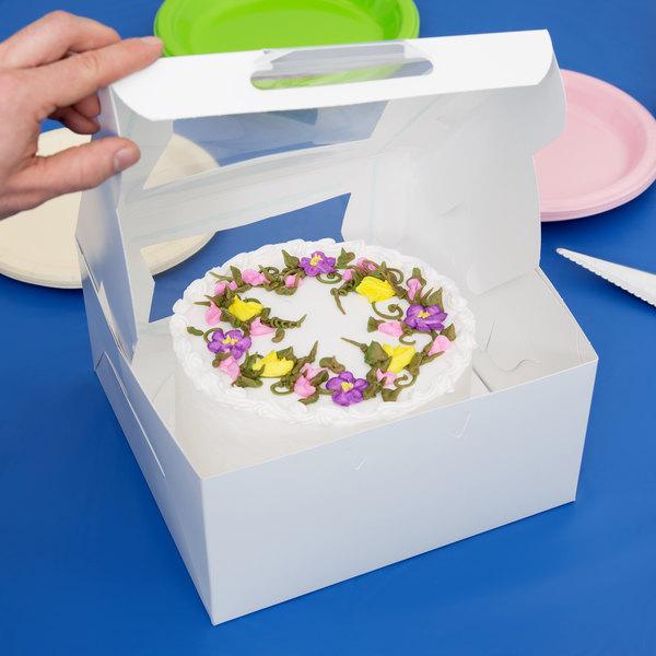 """Southern Champion 23053 10"""" x 10"""" x 5"""" White Window Cake / Bakery Box - 10/Pack"""