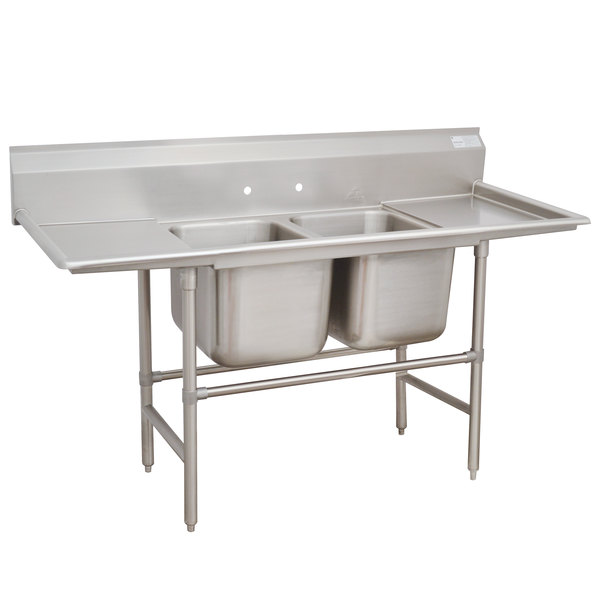Advance Tabco 94-42-48-36RL Spec Line Two Compartment Pot Sink with Two Drainboards - 125""