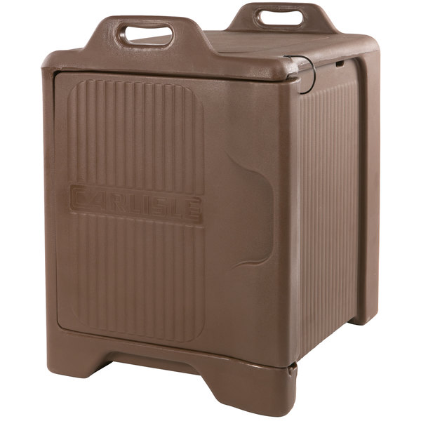 Carlisle XT3000R01 Slide 'N Seal™ Brown Front Loading Insulated Food Pan Carrier with Sliding Lid - Holds 5 Pans
