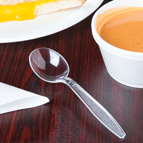 Case of 1000 Visions Clear Heavy Weight Plastic Soup Spoon
